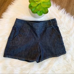 Ann Taylor dressy jean shorts with front buttons